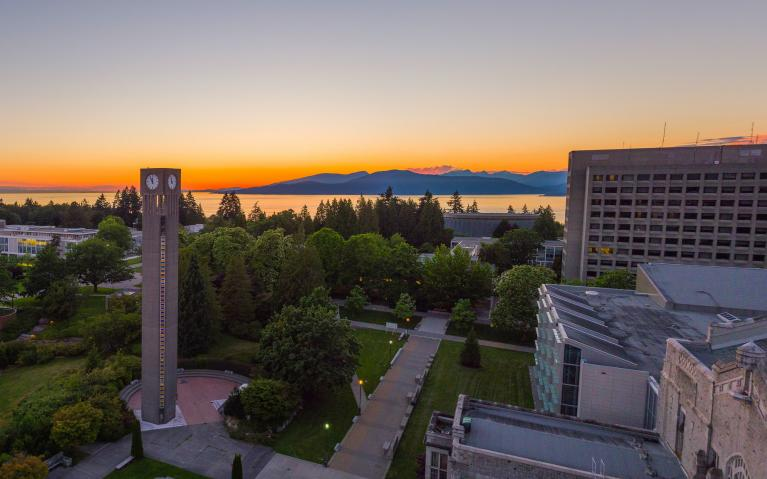 aerial view of the UBC clock tower and Irving K Barber Learning Centre