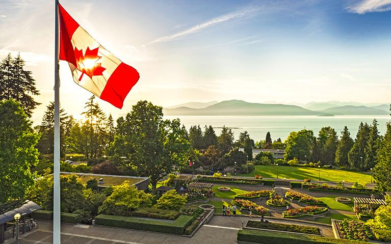 UBC rose garden and flag pole, looking north. Credit: Hover Collective