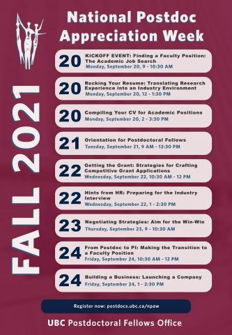Poster listing 2021 NPAW events.
